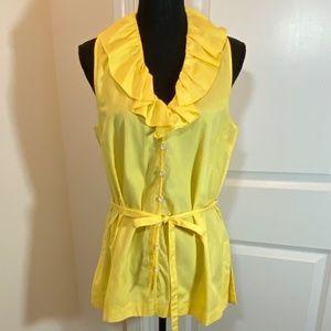 Button Front Ruffle Neck Sleeveless Shirt
